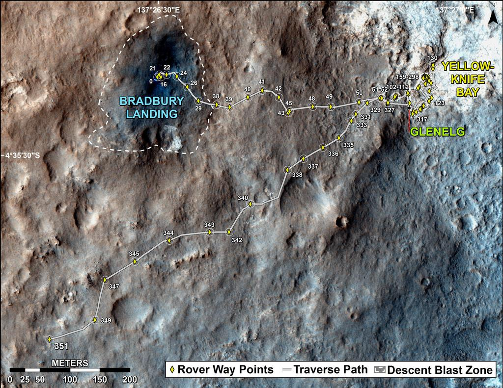 The total distance driven by NASA's Mars rover Curiosity passed the one-mile mark a few days before the first anniversary of the rover's landing on Mars.
