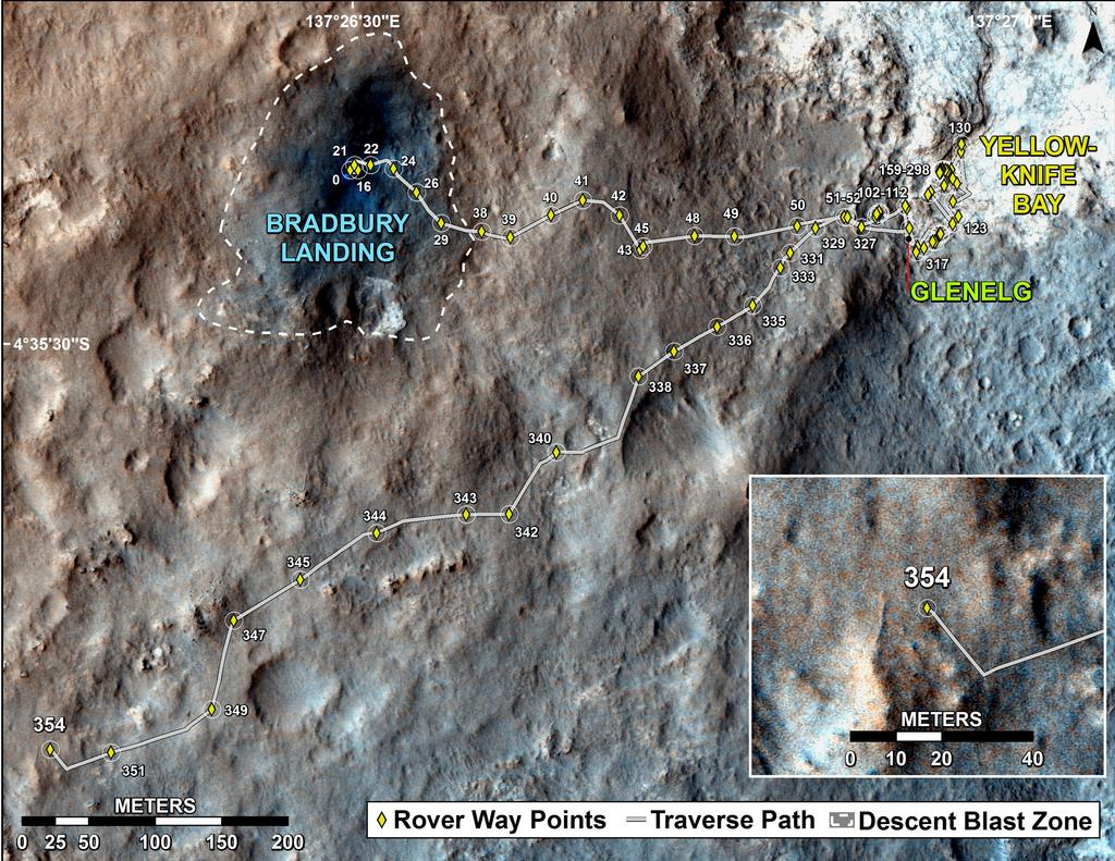 This map shows the route driven by NASA's Mars rover Curiosity through the 354 Martian day, or sol, of the rover's mission on Mars (August 5, 2013).