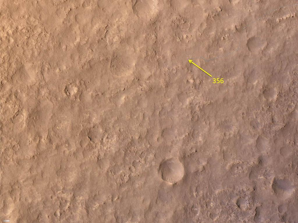 This map shows the route driven by NASA's Mars rover Curiosity through the 356 Martian day, or sol, of the rover's mission on Mars (August 7, 2013).