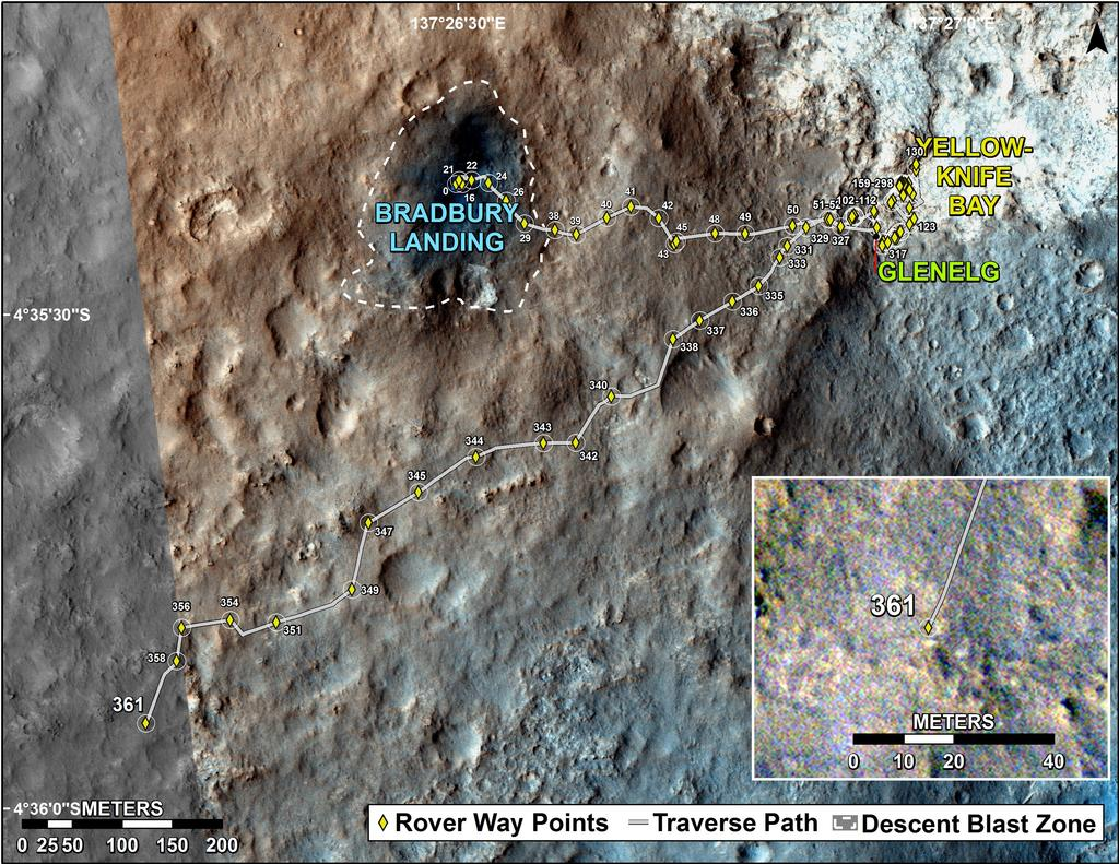 This map shows the route driven by NASA's Mars rover Curiosity through the 361 Martian day, or sol, of the rover's mission on Mars (August 12, 2013).
