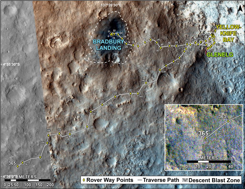 This map shows the route driven by NASA's Mars rover Curiosity through the 365 Martian day, or sol, of the rover's mission on Mars (August 16, 2013).