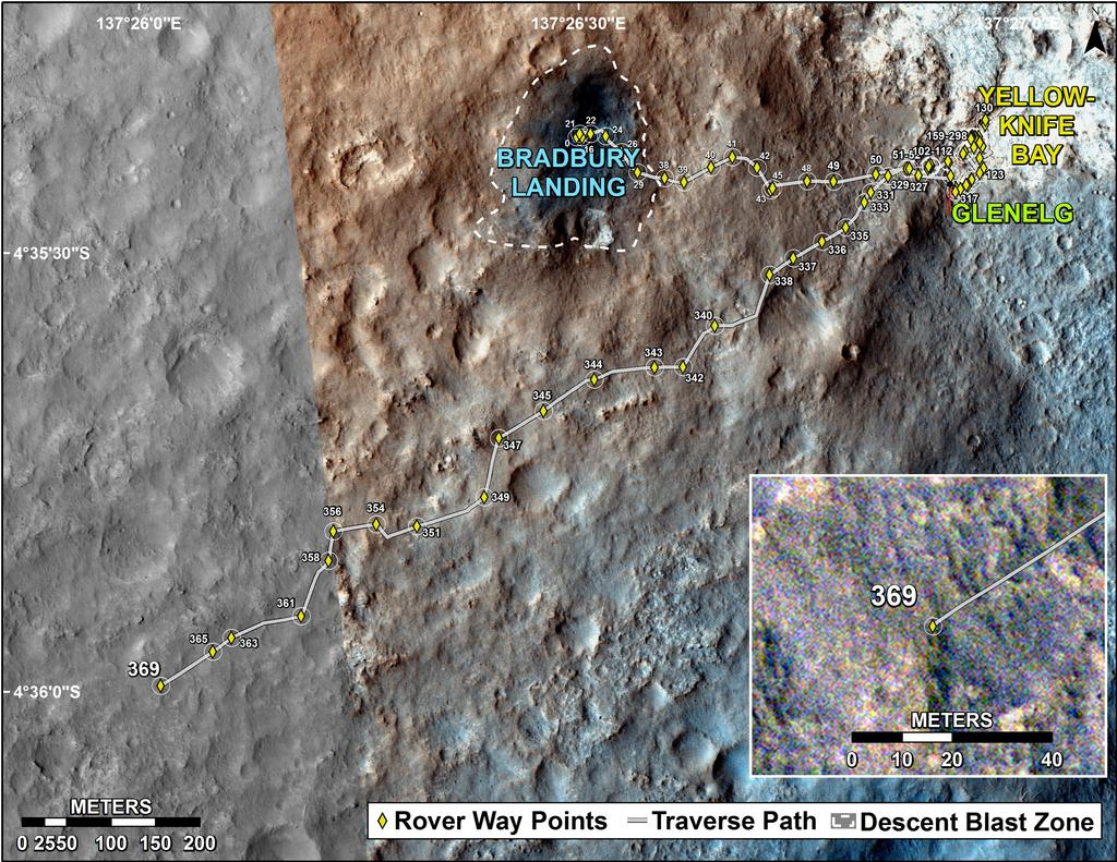 This map shows the route driven by NASA's Mars rover Curiosity through the 369 Martian day, or sol, of the rover's mission on Mars (August 20, 2013).