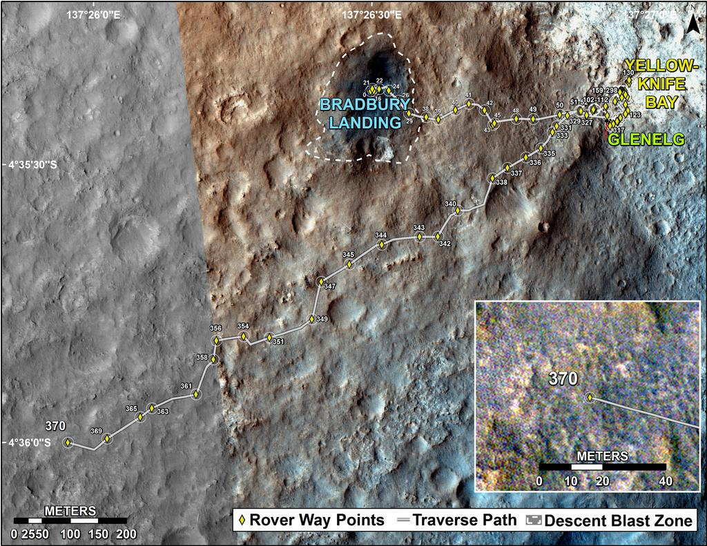 This map shows the route driven by NASA's Mars rover Curiosity through the 370 Martian day, or sol, of the rover's mission on Mars (August 21, 2013).