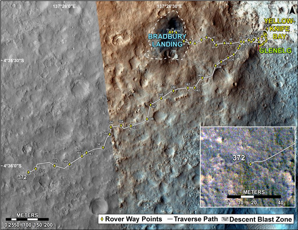This map shows the route driven by NASA's Mars rover Curiosity through the 372 Martian day, or sol, of the rover's mission on Mars (August 23, 2013).