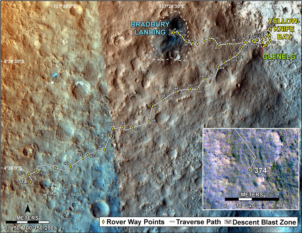 This map shows the route driven by NASA's Mars rover Curiosity through the 374 Martian day, or sol, of the rover's mission on Mars (August 25, 2013).