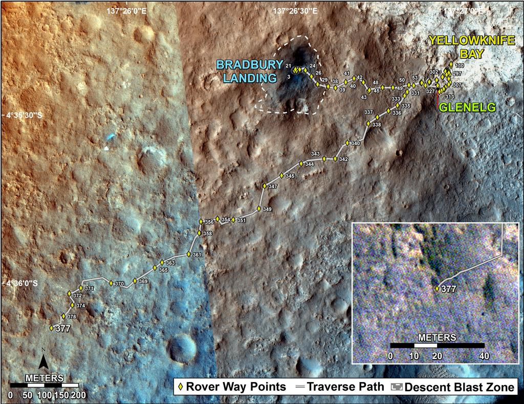 This map shows the route driven by NASA's Mars rover Curiosity through the 377 Martian day, or sol, of the rover's mission on Mars (August 28, 2013).