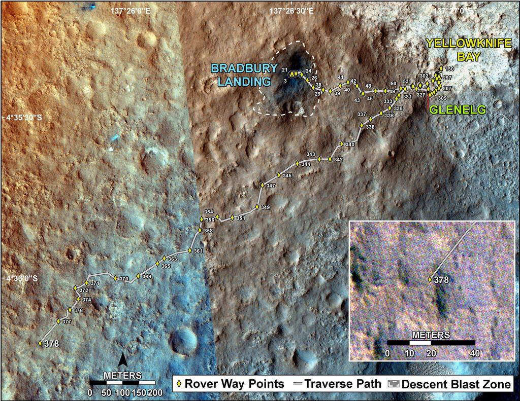 This map shows the route driven by NASA's Mars rover Curiosity through the 378 Martian day, or sol, of the rover's mission on Mars (August 29, 2013).
