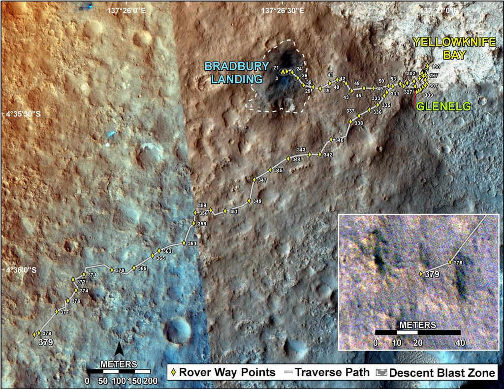 This map shows the route driven by NASA's Mars rover Curiosity through the 379 Martian day, or sol, of the rover's mission on Mars (August 30, 2013).
