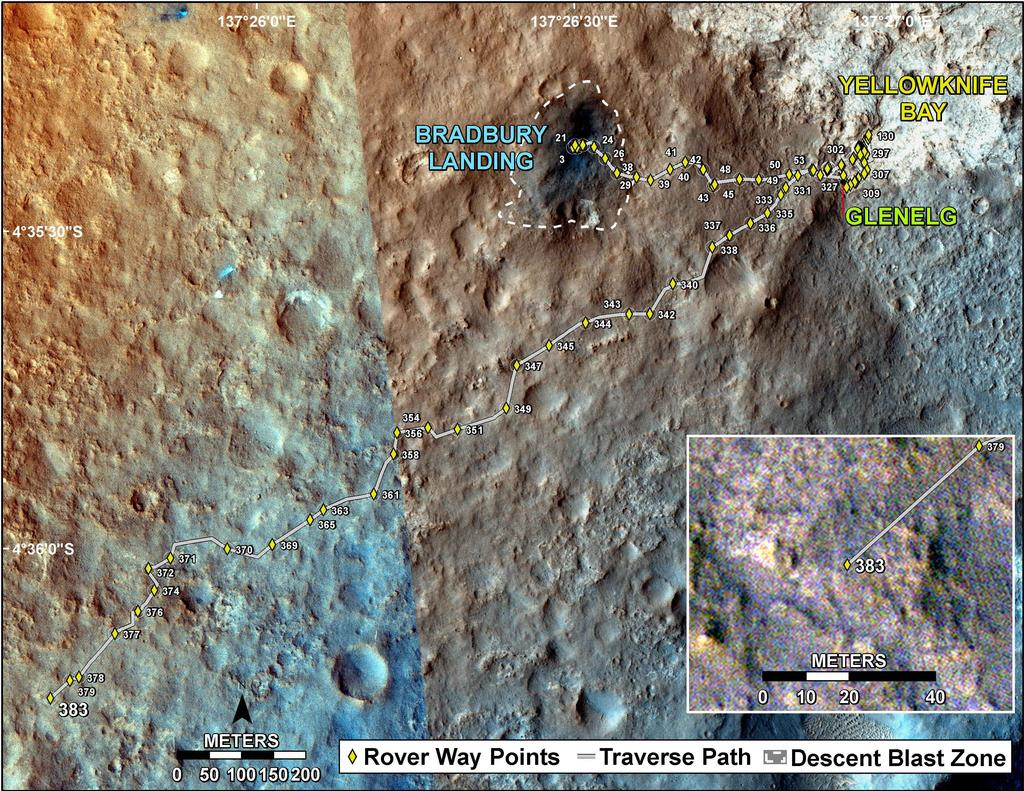 This map shows the route driven by NASA's Mars rover Curiosity through the 383 Martian day, or sol, of the rover's mission on Mars (September 4, 2013).