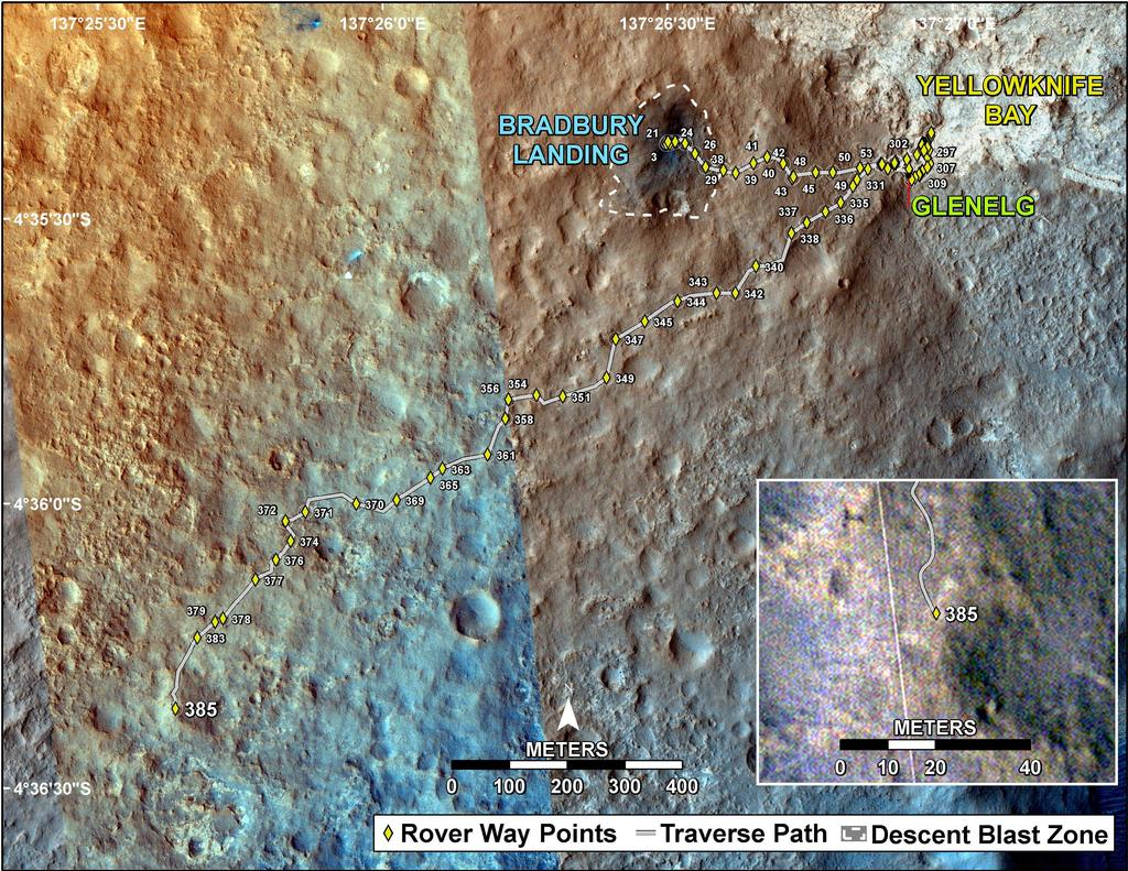 This map shows the route driven by NASA's Mars rover Curiosity through the 385 Martian day, or sol, of the rover's mission on Mars (September 6, 2013).