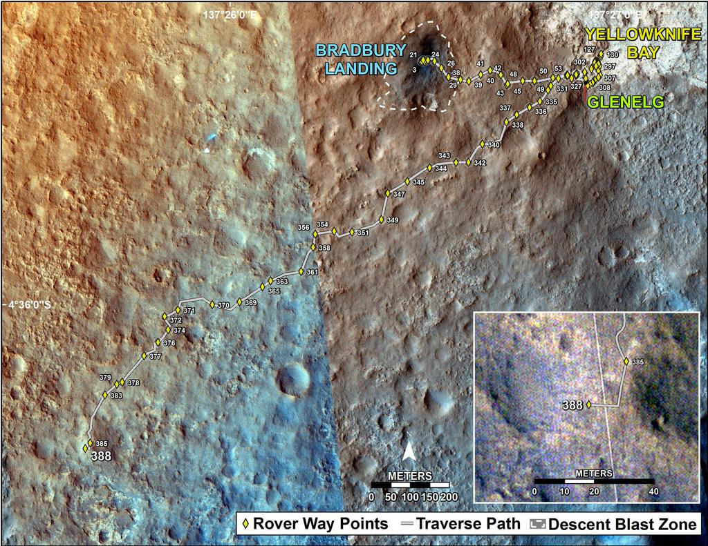 This map shows the route driven by NASA's Mars rover Curiosity through the 388 Martian day, or sol, of the rover's mission on Mars (September 9, 2013).