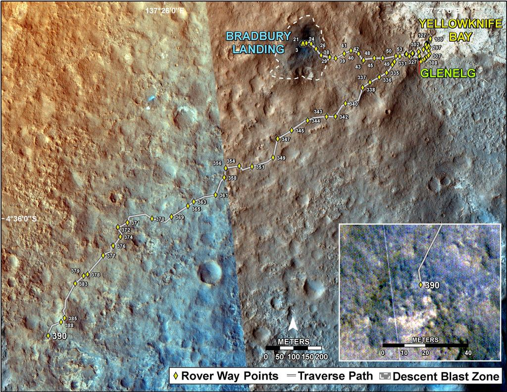 This map shows the route driven by NASA's Mars rover Curiosity through the 390 Martian day, or sol, of the rover's mission on Mars (September 11, 2013).