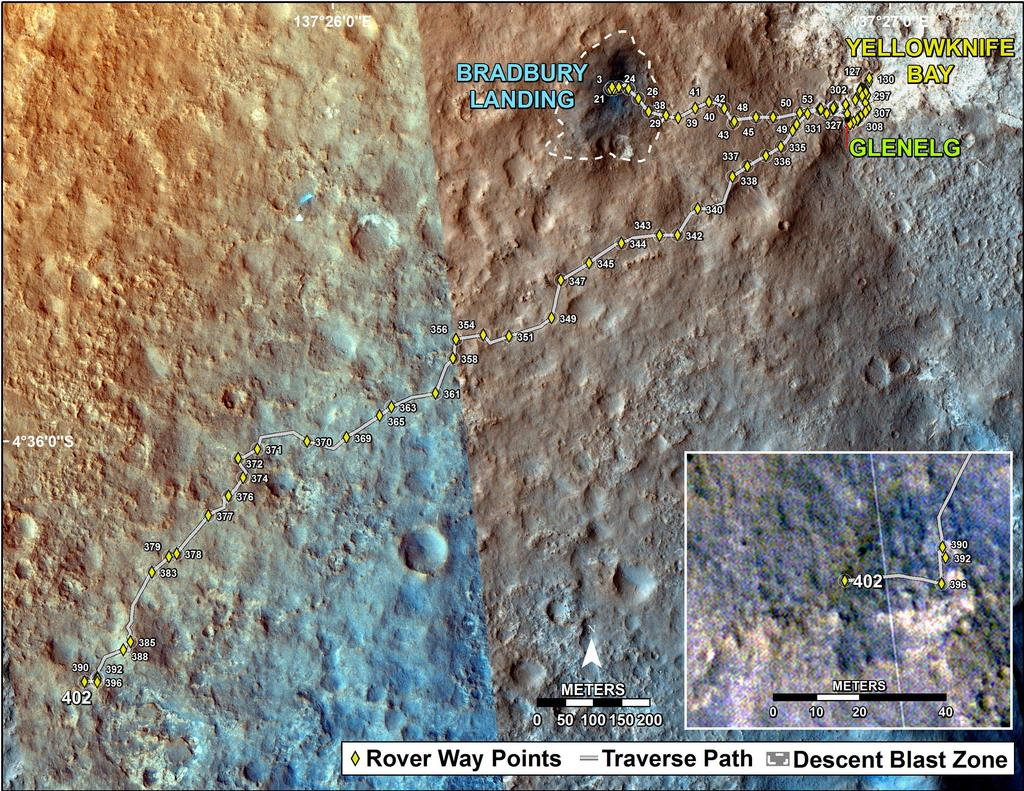 This map shows the route driven by NASA's Mars rover Curiosity through the 402 Martian day, or sol, of the rover's mission on Mars (September 23, 2013).