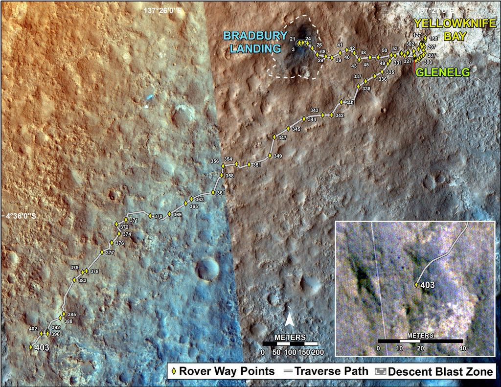 This map shows the route driven by NASA's Mars rover Curiosity through the 403 Martian day, or sol, of the rover's mission on Mars (September 24, 2013).