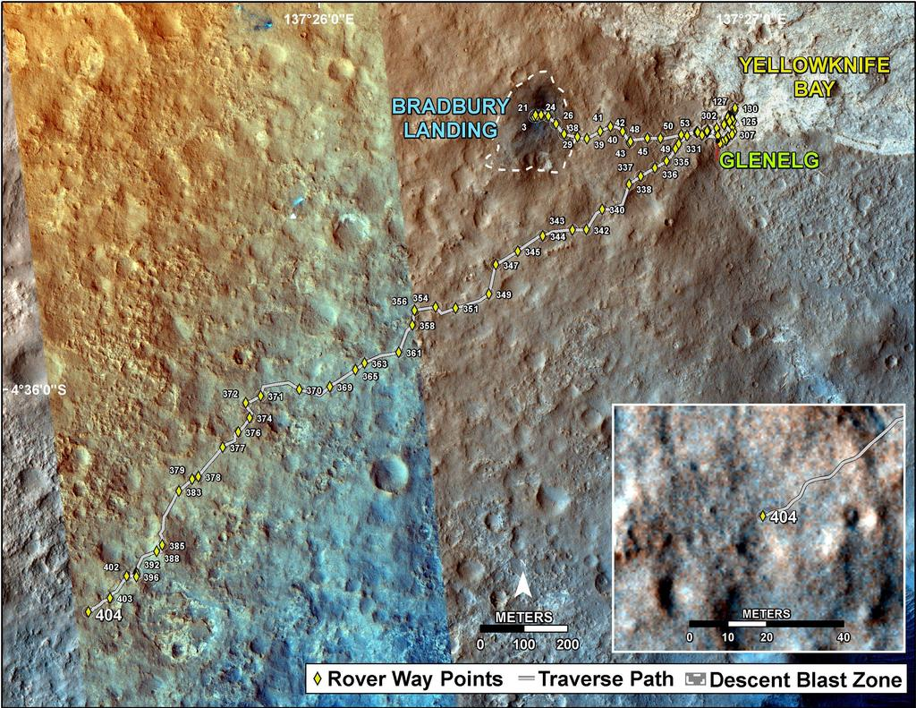 This map shows the route driven by NASA's Mars rover Curiosity through the 404 Martian day, or sol, of the rover's mission on Mars (September 25, 2013).