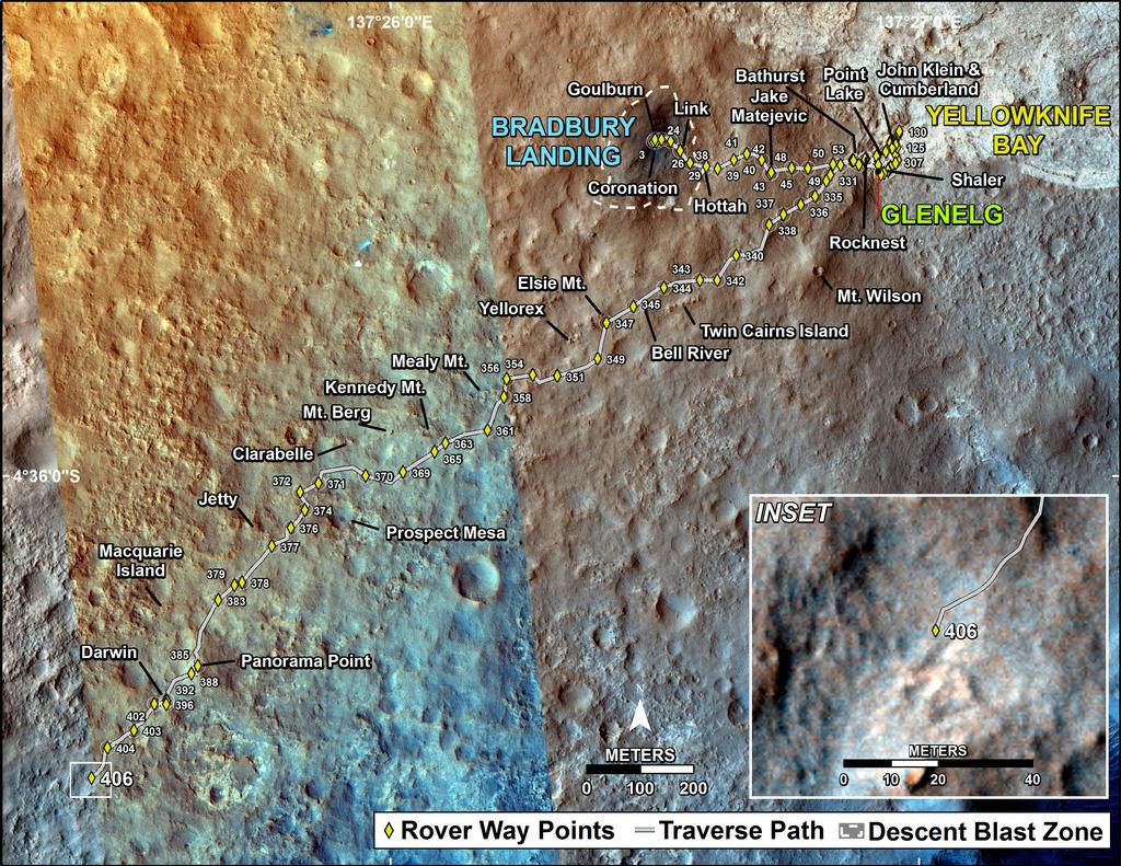 This map shows the route driven by NASA's Mars rover Curiosity through the 406 Martian day, or sol, of the rover's mission on Mars (September 27, 2013).