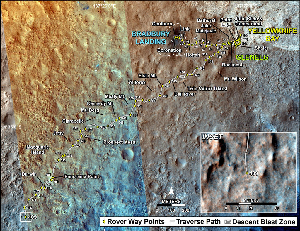 This map shows the route driven by NASA's Mars rover Curiosity through the 409 Martian day, or sol, of the rover's mission on Mars (September 30, 2013).
