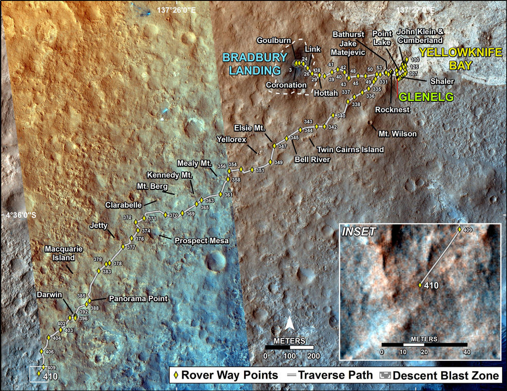 This map shows the route driven by NASA's Mars rover Curiosity through the 410 Martian day, or sol, of the rover's mission on Mars (October 1, 2013).