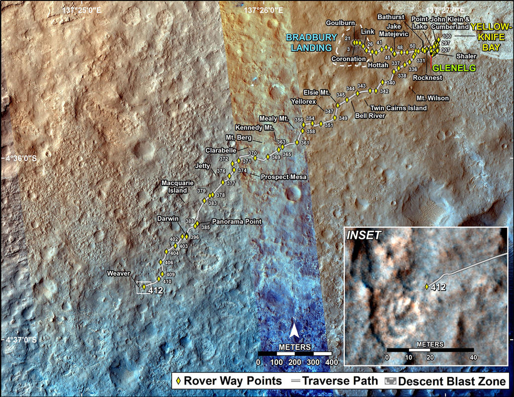 This map shows the route driven by NASA's Mars rover Curiosity through the 412 Martian day, or sol, of the rover's mission on Mars (October 3, 2013).