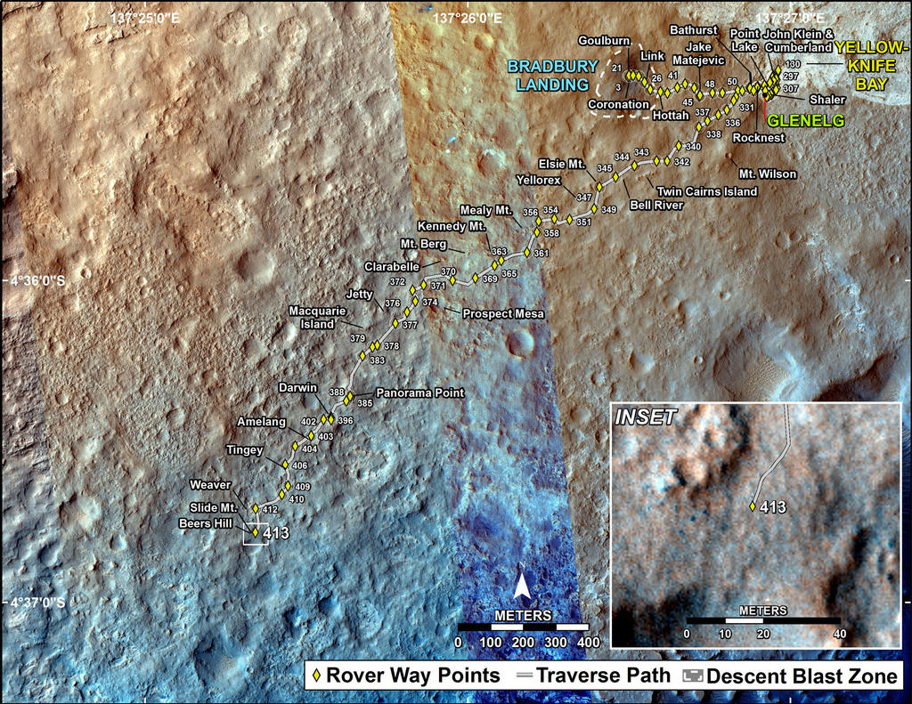 This map shows the route driven by NASA's Mars rover Curiosity through the 413 Martian day, or sol, of the rover's mission on Mars (October 4, 2013).