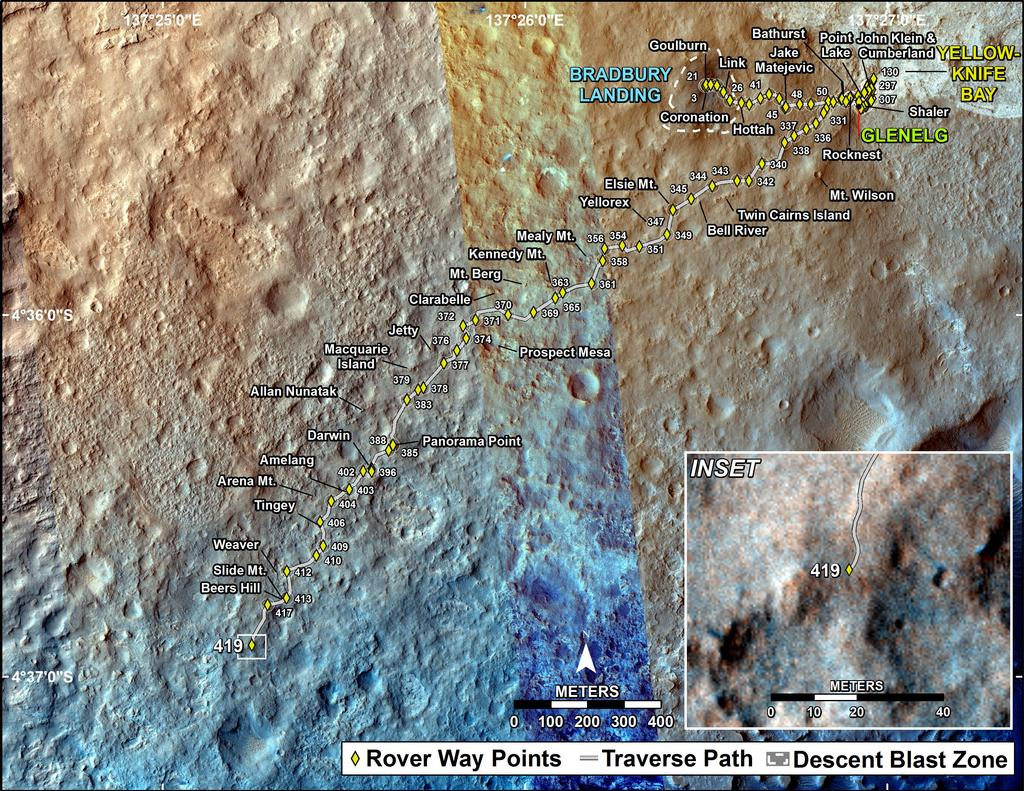 This map shows the route driven by NASA's Mars rover Curiosity through the 419 Martian day, or sol, of the rover's mission on Mars (October 11, 2013).