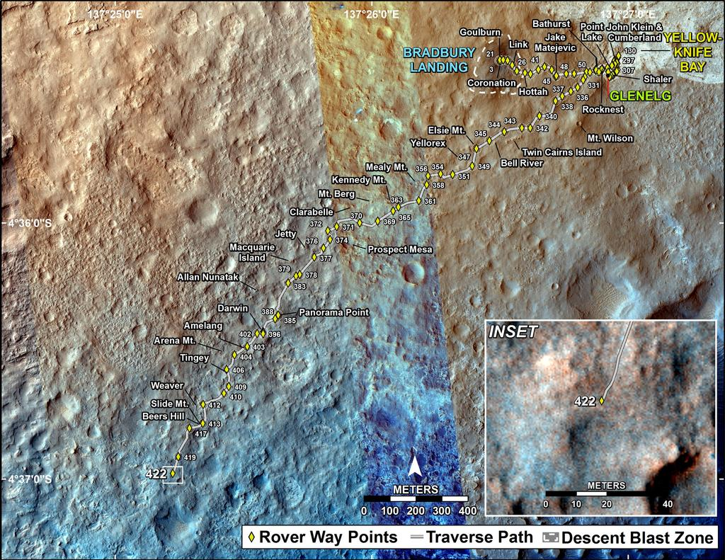 This map shows the route driven by NASA's Mars rover Curiosity through the 422 Martian day, or sol, of the rover's mission on Mars (October 14, 2013).