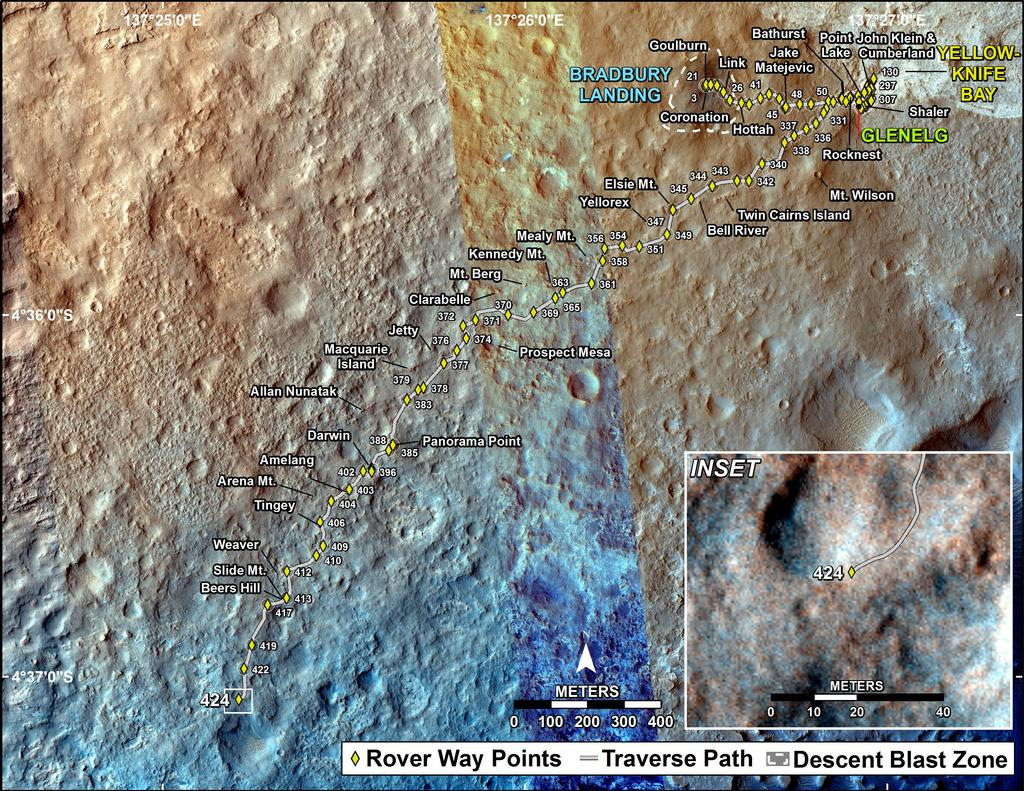 This map shows the route driven by NASA's Mars rover Curiosity through the 424 Martian day, or sol, of the rover's mission on Mars (October 16, 2013).