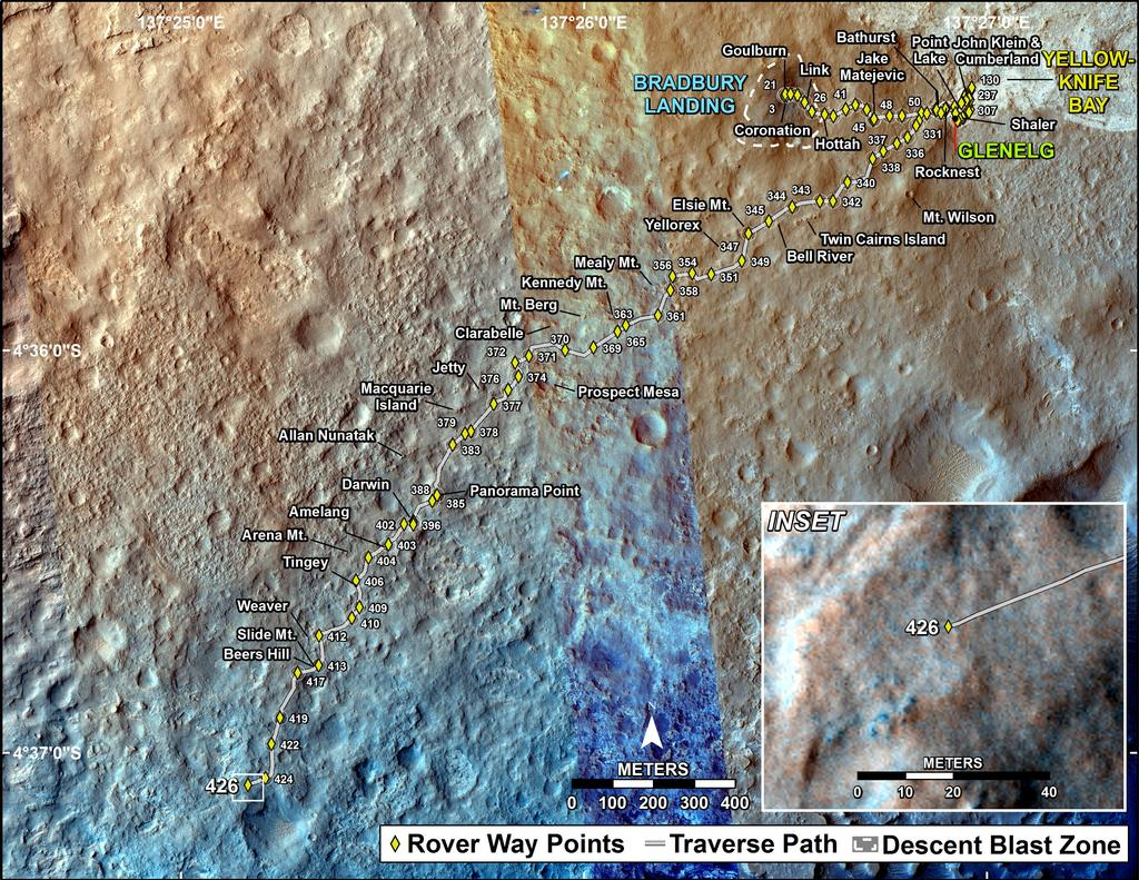 This map shows the route driven by NASA's Mars rover Curiosity through the 426 Martian day, or sol, of the rover's mission on Mars (October 18, 2013).