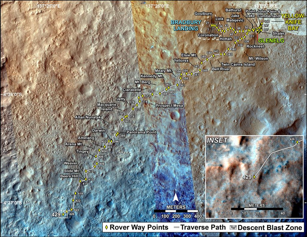 This map shows the route driven by NASA's Mars rover Curiosity through the 429 Martian day, or sol, of the rover's mission on Mars (October 21, 2013).