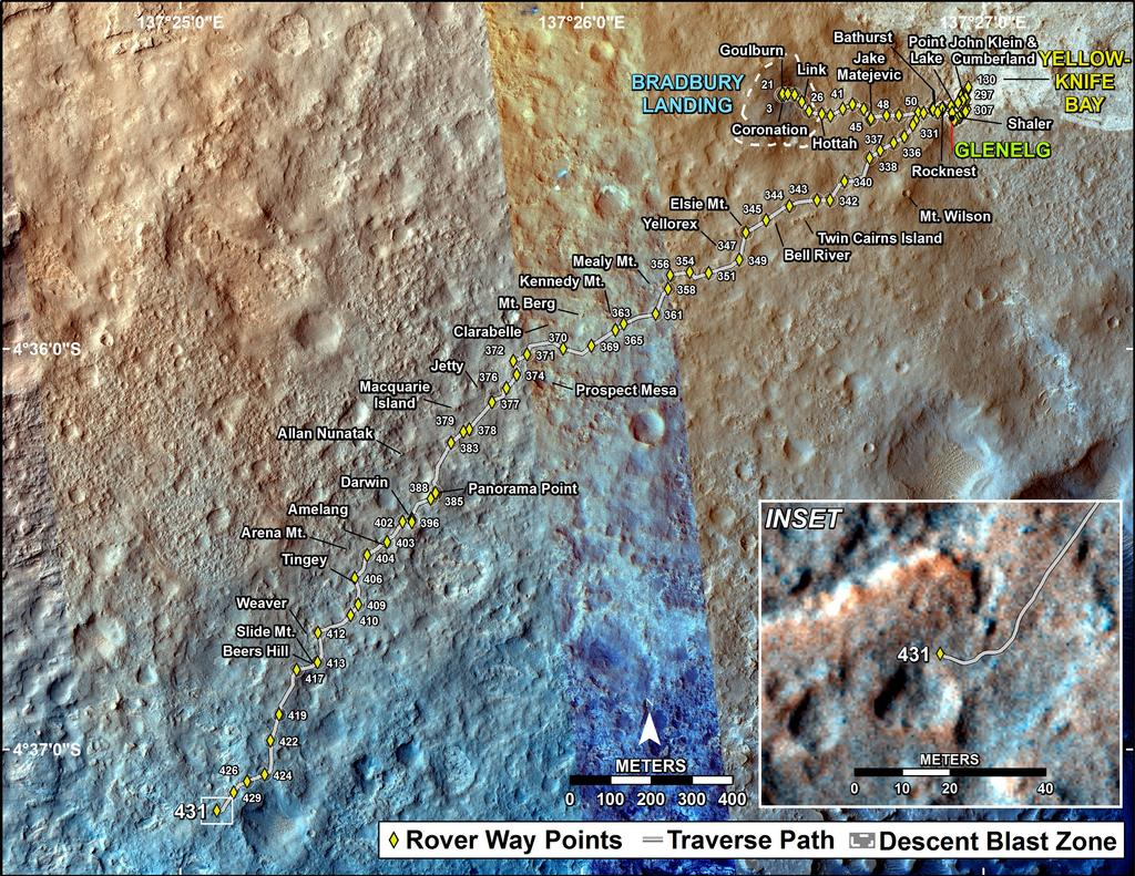This map shows the route driven by NASA's Mars rover Curiosity through the 431 Martian day, or sol, of the rover's mission on Mars (October 23, 2013).