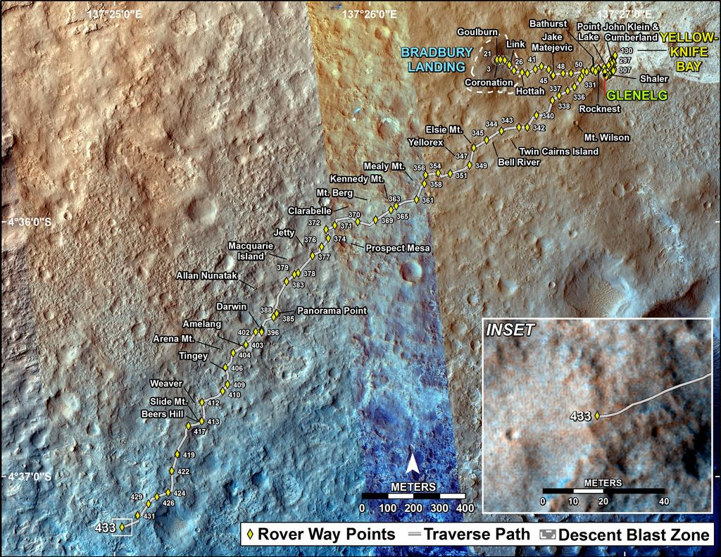 This map shows the route driven by NASA's Mars rover Curiosity through the 433 Martian day, or sol, of the rover's mission on Mars (October 25, 2013).