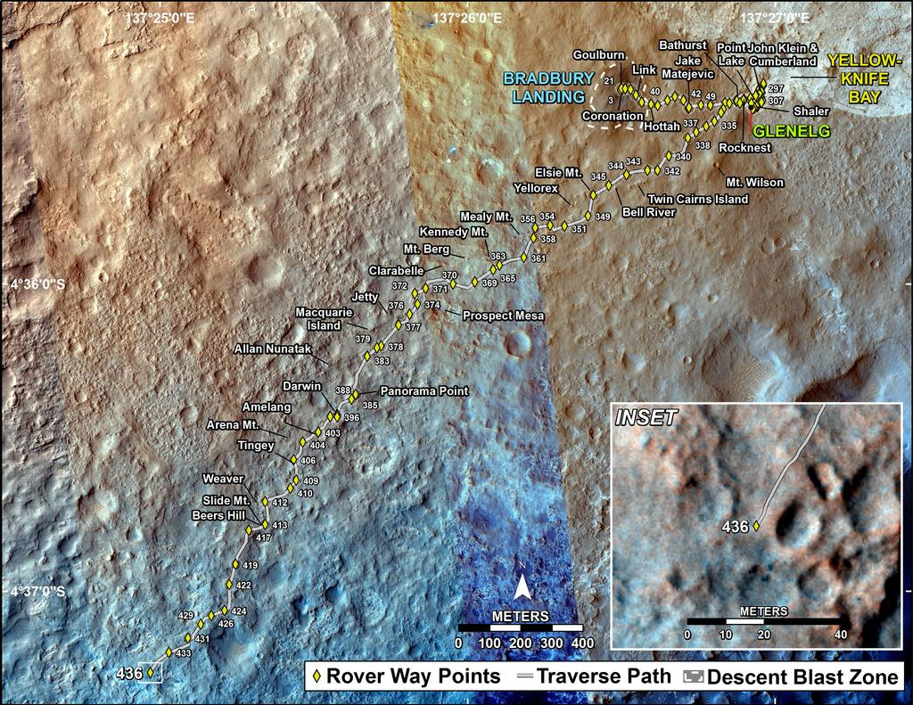 This map shows the route driven by NASA's Mars rover Curiosity through the 436 Martian day, or sol, of the rover's mission on Mars (October 28, 2013).