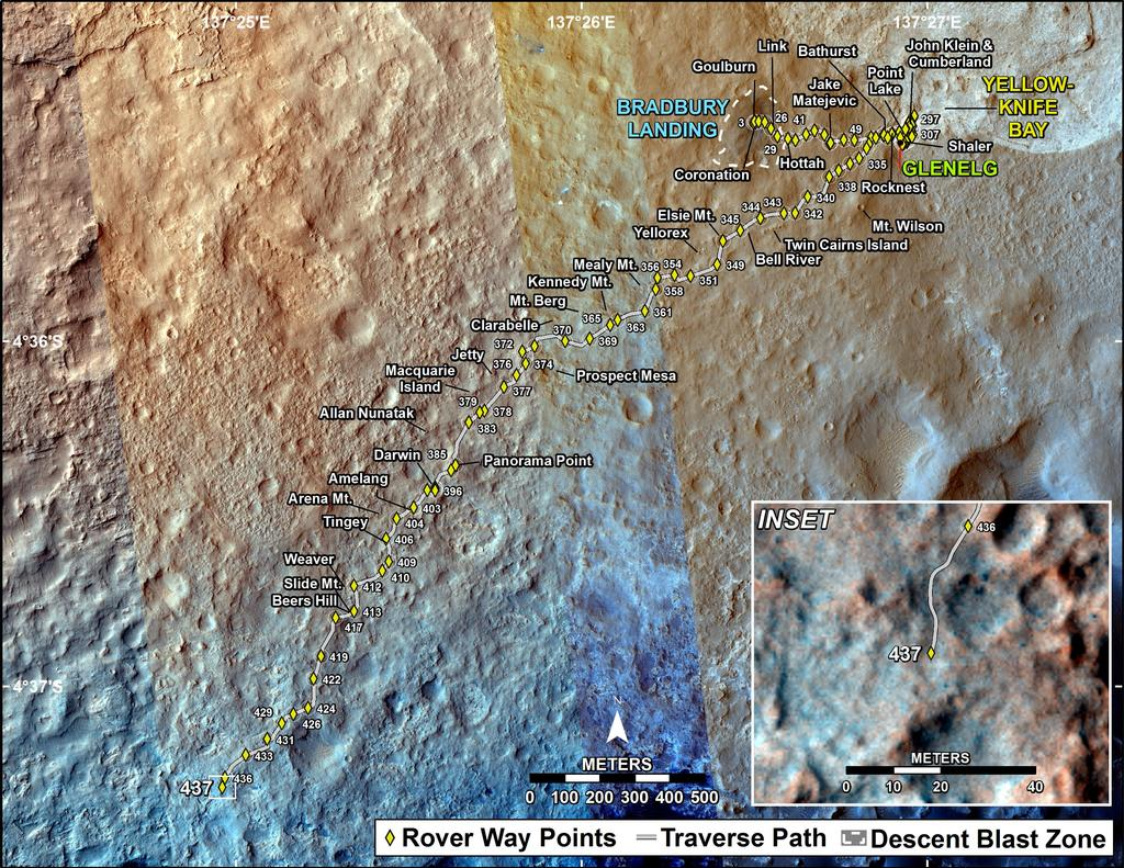 This map shows the route driven by NASA's Mars rover Curiosity through the 437 Martian day, or sol, of the rover's mission on Mars (October 29, 2013).
