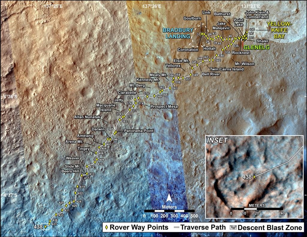 This map shows the route driven by NASA's Mars rover Curiosity through the 438 Martian day, or sol, of the rover's mission on Mars (October 30, 2013).