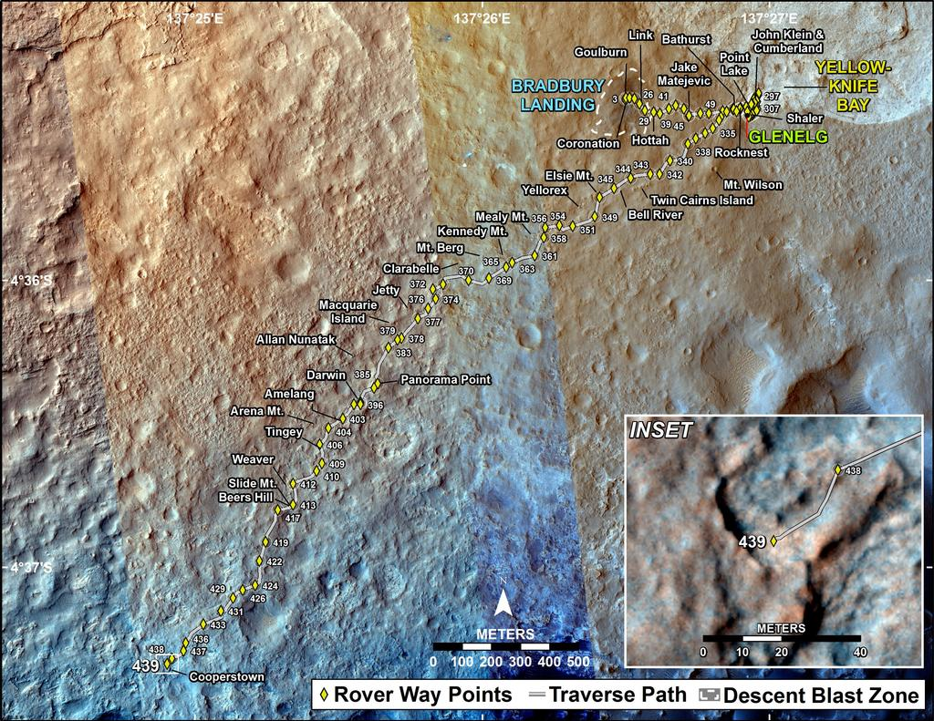 This map shows the route driven by NASA's Mars rover Curiosity through the 439 Martian day, or sol, of the rover's mission on Mars (October 31, 2013).
