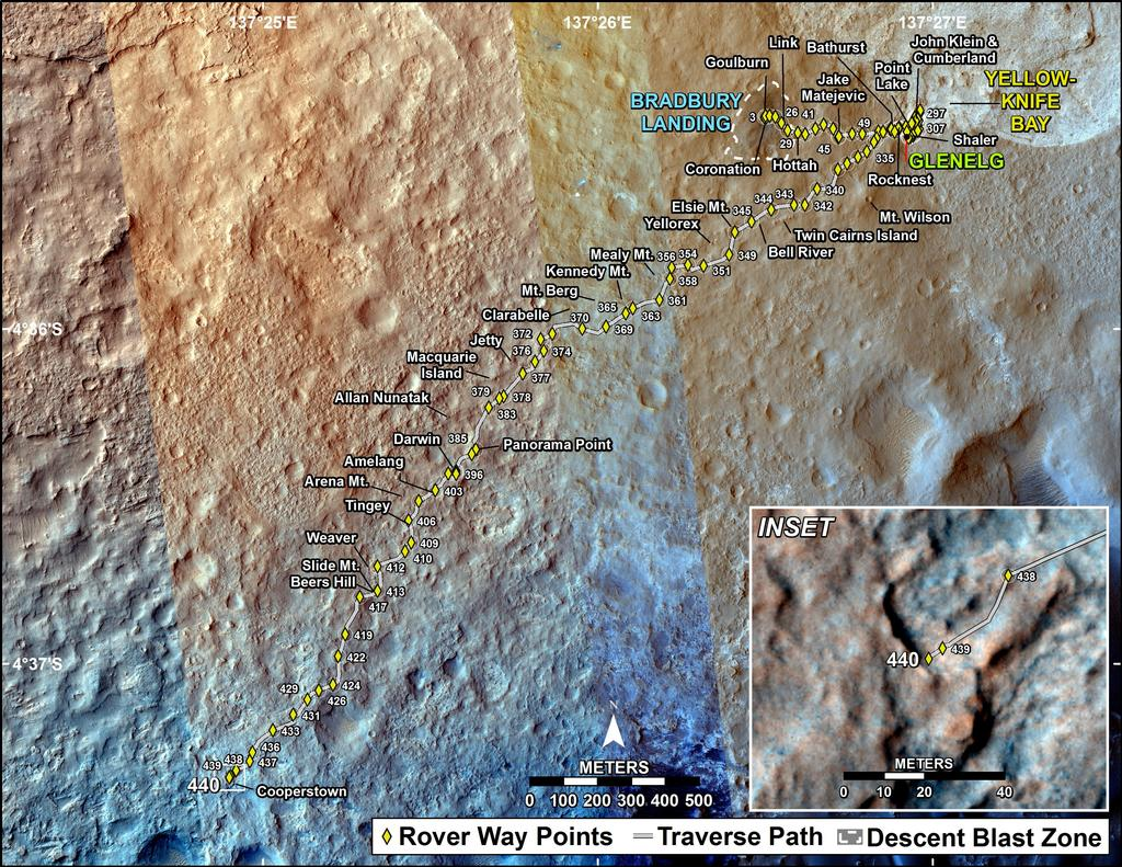 This map shows the route driven by NASA's Mars rover Curiosity through the 440 Martian day, or sol, of the rover's mission on Mars (November 1, 2013).