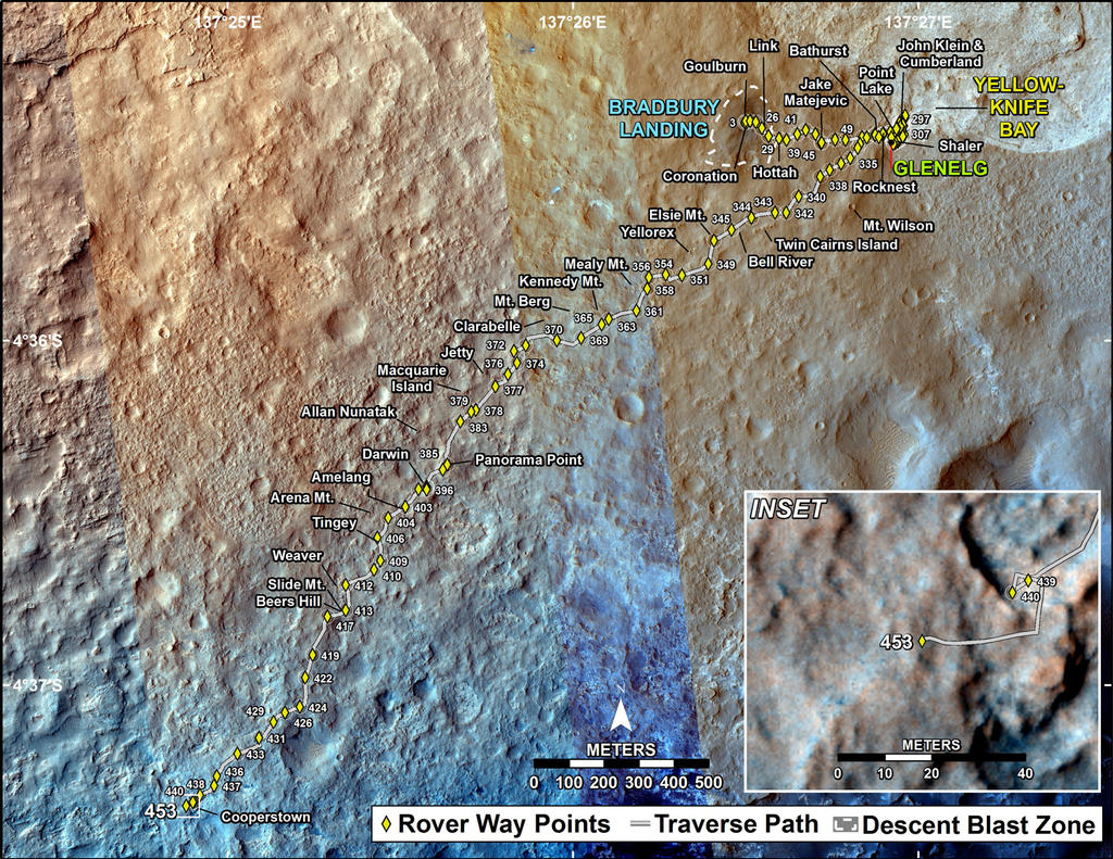 This map shows the route driven by NASA's Mars rover Curiosity through the 453 Martian day, or sol, of the rover's mission on Mars (November 14, 2013).