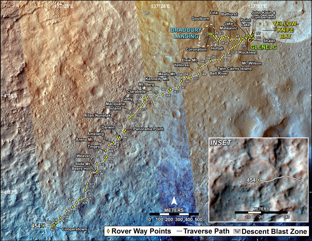 This map shows the route driven by NASA's Mars rover Curiosity through the 454 Martian day, or sol, of the rover's mission on Mars (November 15, 2013).