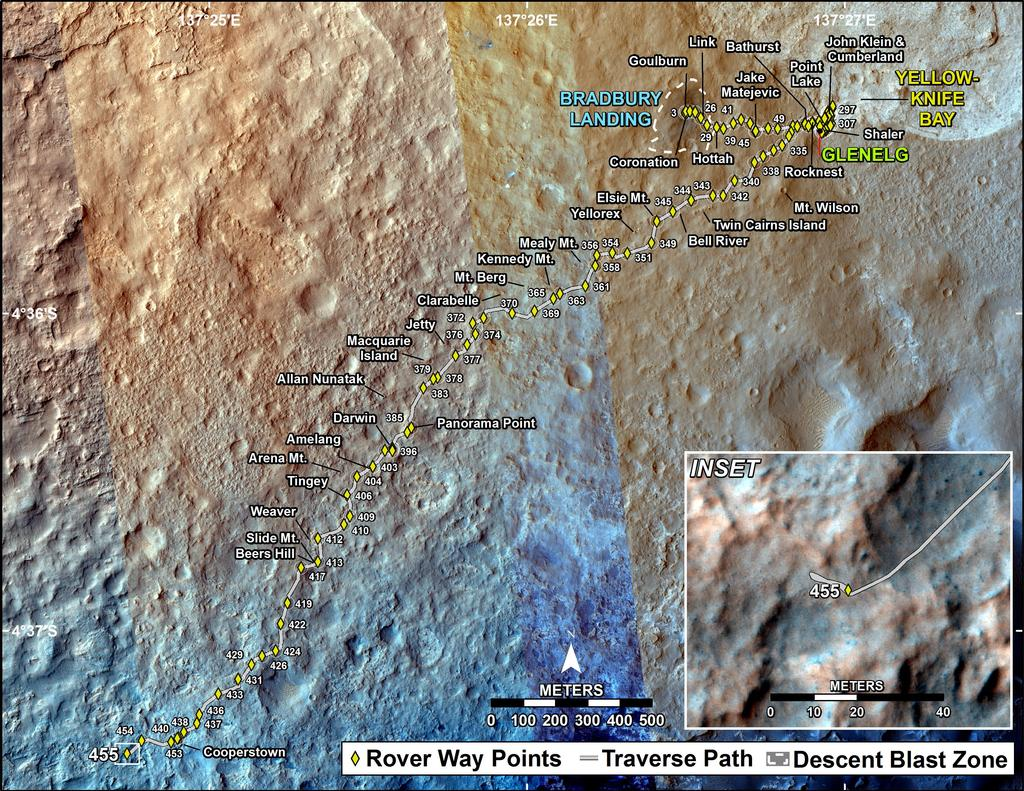 This map shows the route driven by NASA's Mars rover Curiosity through the 455 Martian day, or sol, of the rover's mission on Mars (November 16, 2013).