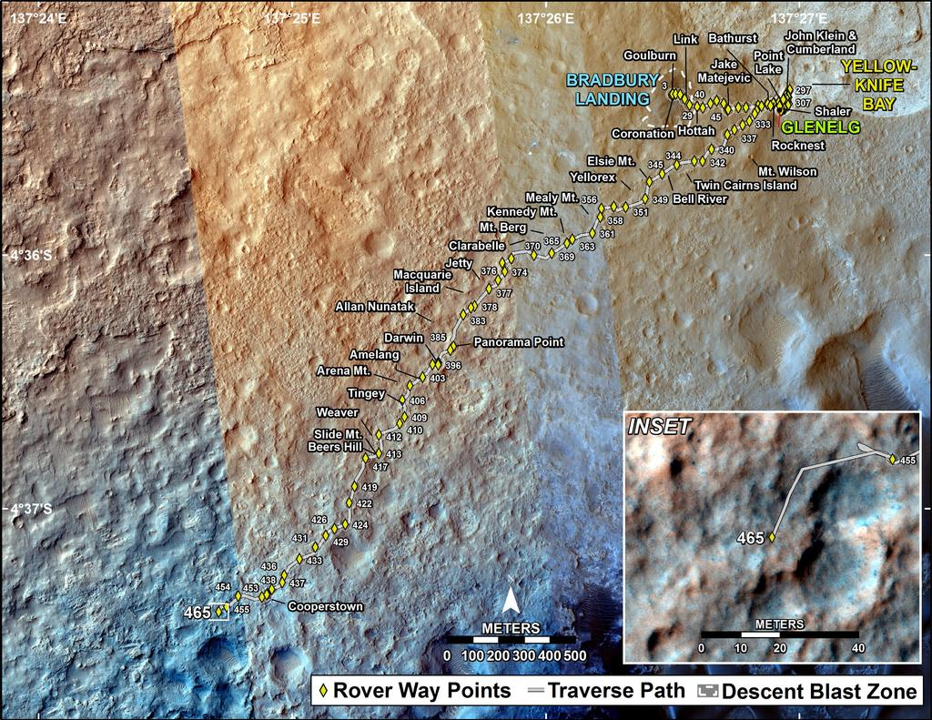 This map shows the route driven by NASA's Mars rover Curiosity through the 465 Martian day, or sol, of the rover's mission on Mars (November 27, 2013).