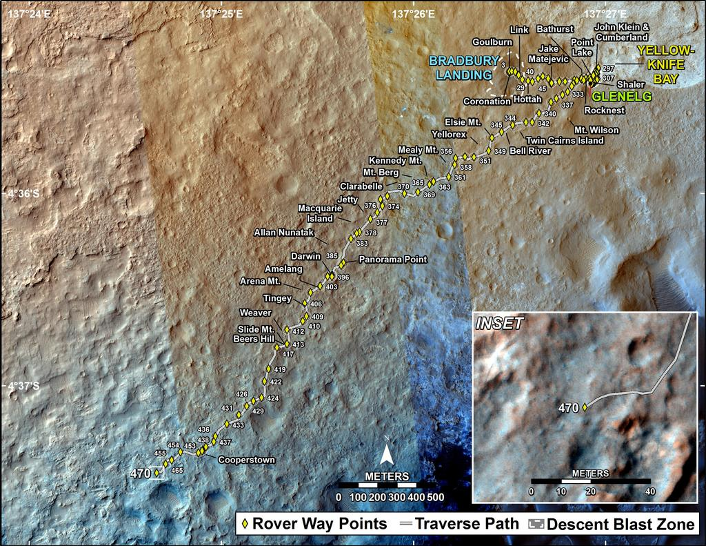 This map shows the route driven by NASA's Mars rover Curiosity through the 470 Martian day, or sol, of the rover's mission on Mars (December 3, 2013).
