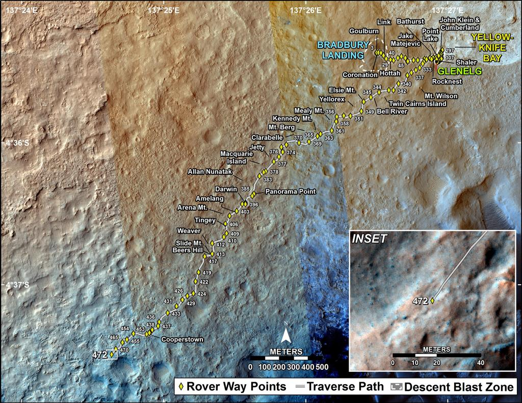 This map shows the route driven by NASA's Mars rover Curiosity through the 472 Martian day, or sol, of the rover's mission on Mars (December 4, 2013).