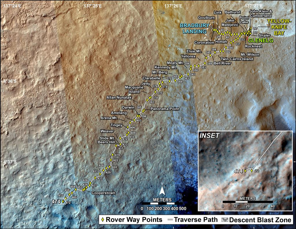 This map shows the route driven by NASA's Mars rover Curiosity through the 474 Martian day, or sol, of the rover's mission on Mars (December 6, 2013).
