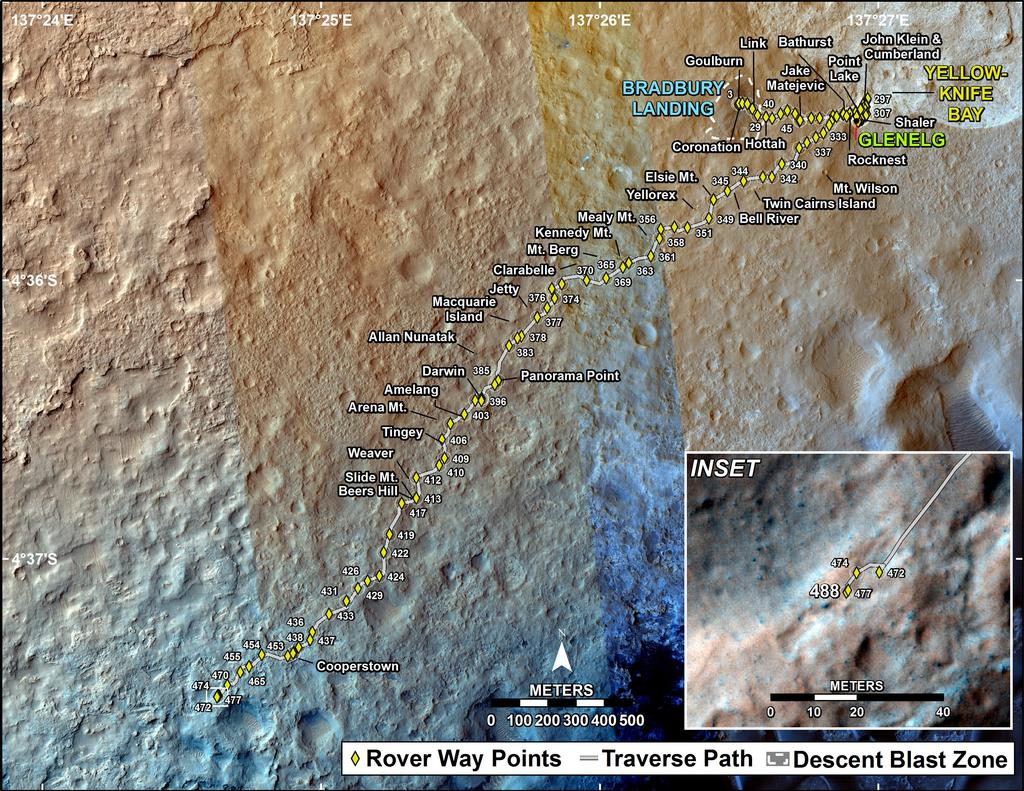 This map shows the route driven by NASA's Mars rover Curiosity through the 488 Martian day, or sol, of the rover's mission on Mars (December 21, 2013).