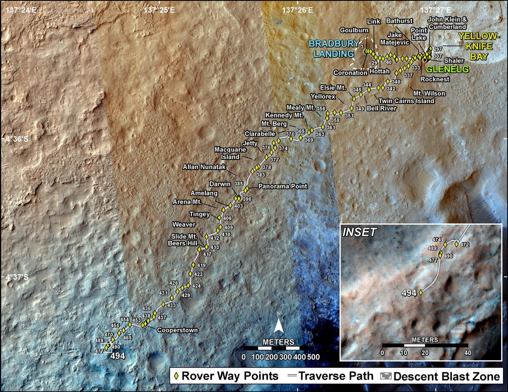 This map shows the route driven by NASA's Mars rover Curiosity through the 494 Martian day, or sol, of the rover's mission on Mars (December 27, 2013).