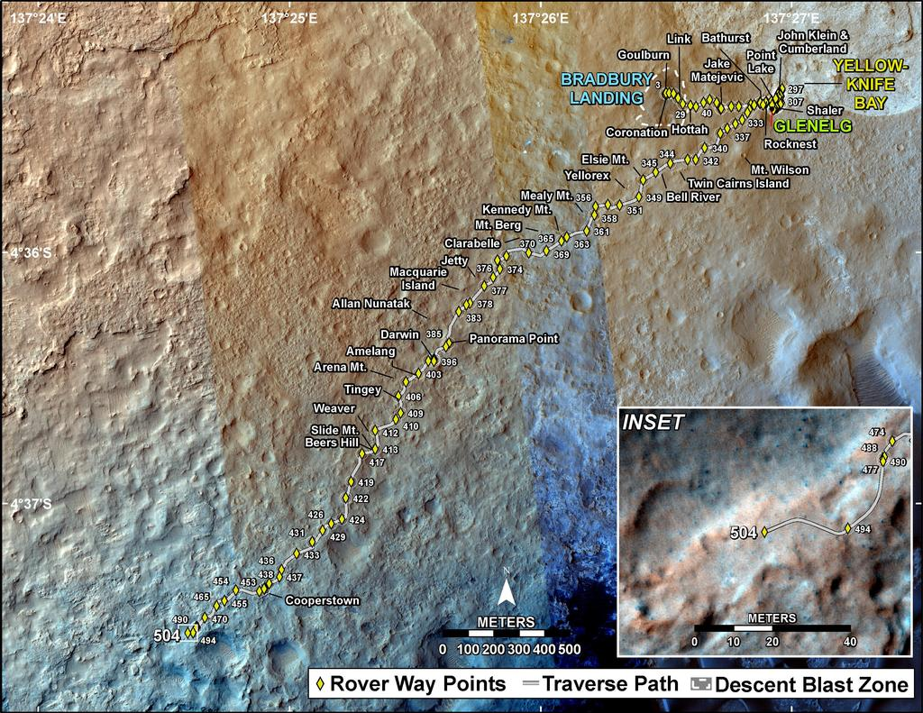 This map shows the route driven by NASA's Mars rover Curiosity through the 504 Martian day, or sol, of the rover's mission on Mars (January 5, 2014).