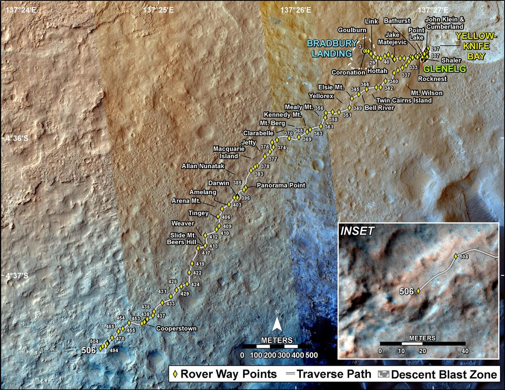 This map shows the route driven by NASA's Mars rover Curiosity through the 506 Martian day, or sol, of the rover's mission on Mars (January 8, 2014).