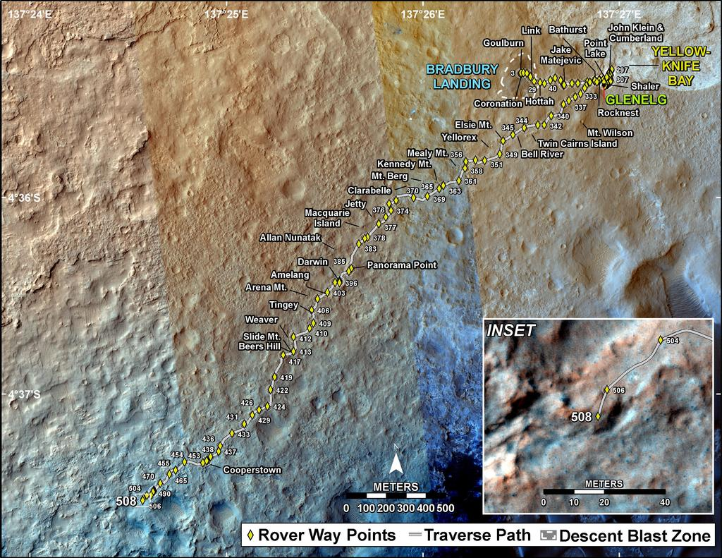 This map shows the route driven by NASA's Mars rover Curiosity through the 508 Martian day, or sol, of the rover's mission on Mars (January 10, 2014).
