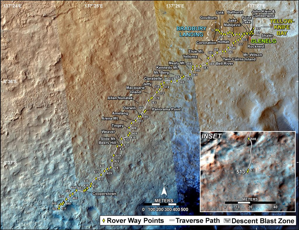 This map shows the route driven by NASA's Mars rover Curiosity through the 513 Martian day, or sol, of the rover's mission on Mars (January 15, 2014).