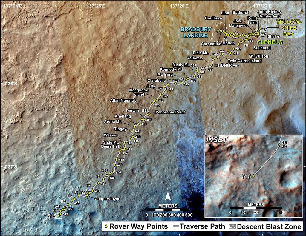 This map shows the route driven by NASA's Mars rover Curiosity through the 515 Martian day, or sol, of the rover's mission on Mars (January 17, 2014).